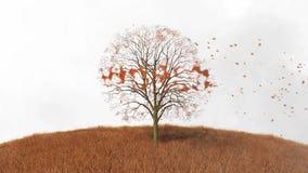 Drzewo z słowo światem, spadek opuszcza royalty ilustracja