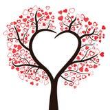 Drzewo z sercami odizolowywającymi, Obrazy Stock