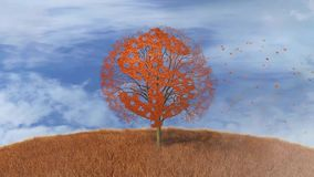 Drzewo z symbolem dolar, spada opuszcza ilustracja wektor