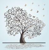 Drzewo z zawijasami i sercami Fotografia Stock