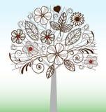 Drzewo z zawijasem i kwiatami Obrazy Royalty Free