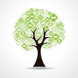 Drzewo z zielonymi strzałkowatymi ikonami Obraz Royalty Free