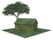 drzewo zielonego domu Fotografia Royalty Free
