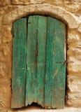 drzwi 2 zielonego starego drewna Fotografia Royalty Free