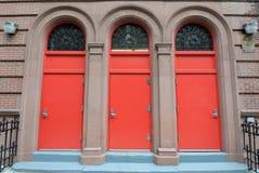 drzwi czerwień trzy Zdjęcie Royalty Free