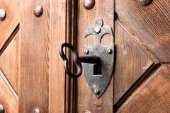 drzwi drewniany kluczowy stary Fotografia Stock
