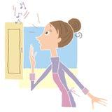 drzwi i kobieta Zdjęcia Royalty Free