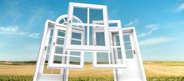 Drzwi i okno katalogują, kształtują teren, Fotografia Royalty Free