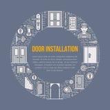 Drzwi instalaci znaki, remontowa sztandar ilustracja Wektor kreskowa ikona różnorodni drzwiowi typ, rękojeść, zapadka, kędziorek Obraz Stock