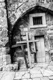 Drzwi kościół Święty Sepulchre jervis Izrael hełmofonu czarny zamknięty wizerunek odizolowywał mikrofonu ochraniacza miękką część zdjęcia stock