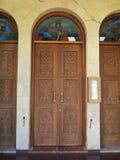 Drzwi na kościół na Cypr fotografia stock