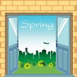 drzwi otwierają wiosnę Obrazy Royalty Free