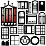drzwi ustawiający sylwetki okno Zdjęcia Royalty Free
