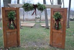 Drzwi w drewnach Zdjęcie Royalty Free