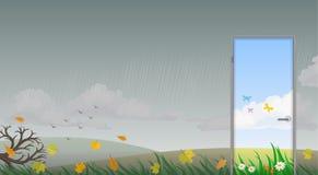 Drzwi w lato ilustracji