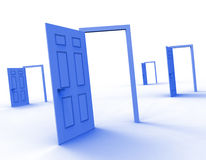 Drzwi wybór Znaczy drzwi alternatywę I Decyduje ilustracja wektor