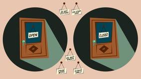 Drzwi z etykietkami otwierają i zamykający i inni ones Fotografia Royalty Free