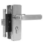 Drzwiowa rękojeść srebro set na białego tła bocznym widoku Obraz Stock