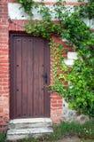 drzwiowe zielonego domu stare rośliny drewniane Zdjęcia Stock