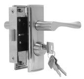 Drzwiowej rękojeści srebro ustawia na białego tła bocznym widoku Zdjęcie Stock