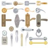 Drzwiowej rękojeści wektorowy doorknob kędziorków drzwi i metal rękojeść w domowy wewnętrzny ilustracyjnym ustawiającym wejście w ilustracja wektor