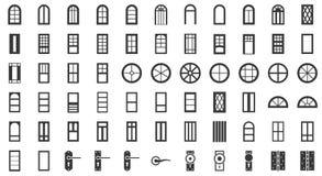 Drzwiowy i nadokienny instalacyjny ikona set, bryła styl royalty ilustracja