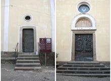 Drzwiowy kościół święty Peter i Paul, Agropoli wioska, Włochy Zdjęcia Royalty Free