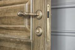 Drzwiowy liść z brąz laną rękojeścią i zapadką Obrazy Stock
