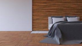 3Ds łóżka i bambusa ściana Zdjęcie Royalty Free
