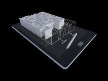 3Ds ταμπλέτα με το παιχνίδι λαβυρίνθου Στοκ Εικόνες