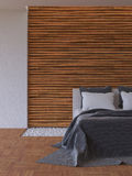 3Ds bed and bamboo wall Royalty Free Stock Photography