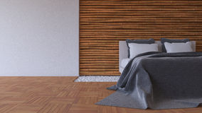 3Ds bed and bamboo wall Royalty Free Stock Photo