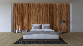 3Ds bed and bamboo wall Stock Image