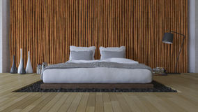 3Ds bed and bamboo wall Stock Photo