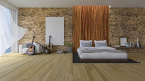 3Ds bed and bamboo wall Stock Photography