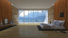 3Ds bed en bamboemuur stock illustratie