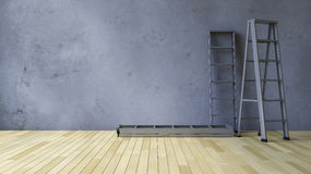 3Ds blank wall and ladder Stock Photography