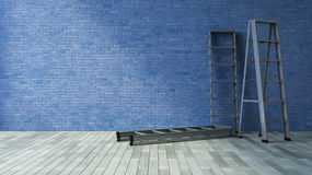3Ds blank wall and ladder. 3Ds rendered image of a blank old blue brick wall and wooden floor Stock Image