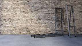3Ds blank wall and ladder. 3Ds rendered image of a blank old brick wall and cracked concrete floor Stock Photos