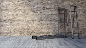 3Ds blank wall and ladder. 3Ds rendered image of a blank old brick wall and wooden floor Royalty Free Stock Photo