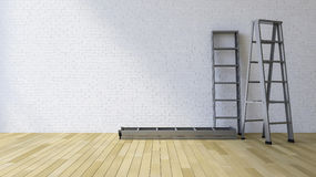 3Ds blank wall and ladder. 3Ds rendered image of a blank white brick wall and wooden floor Royalty Free Stock Photos