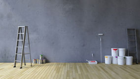 3Ds blank wall and painting tools. 3Ds rendered image of a blank cracked concrete wall and wooden floor, Ladder and painting tools and color cans on the floor Stock Images