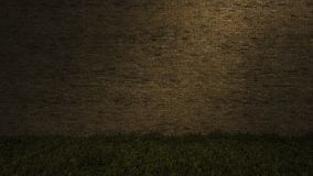 3Ds brick wall. 3ds rendered image of old brown brick wall and grasses field Royalty Free Stock Image