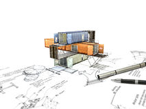 3Ds building transform from hand sketch Stock Image