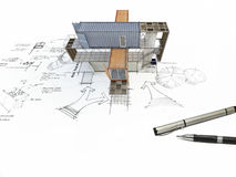 3Ds building transform from hand sketch Royalty Free Stock Image