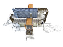 3Ds building transform from hand sketch Stock Photo