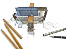 3Ds building transform from hand sketch Stock Photos