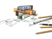 3Ds building transform from hand sketch Royalty Free Stock Images