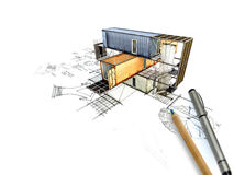 3Ds building transform from hand sketch Royalty Free Stock Photo