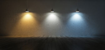 3Ds color temperature scale. 3D rendering image of 3 hanging lamps which use different bulbs. Color temperature scale. Cool white,warm white, day light. 3 colors Royalty Free Stock Photo